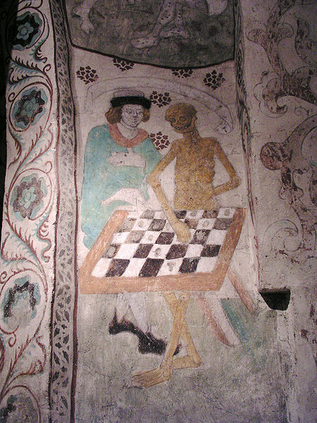 Death playing chess by Albertus Pictor (1440-1507). T�by kyrka, Diocese of Stockholm